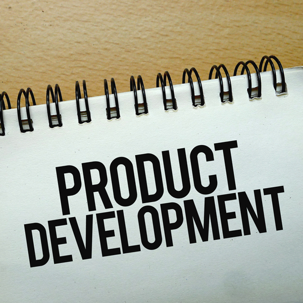 sketchpad with the words product development written